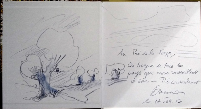 The book dedication and a hastily drawn picture